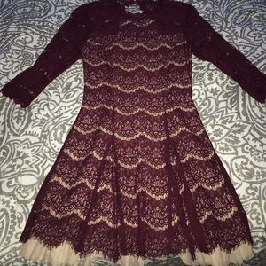Open Back Maroon Lace Dress